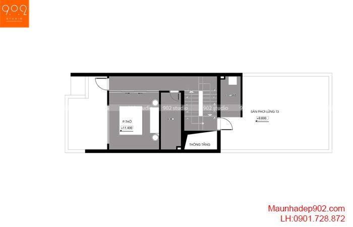 Thiết kế kiến trúc nhà lô phố nhà cô Thủy (Yên Bái) - Mặt bằng tầng 4 - NP21