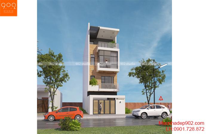 Thiết kế kiến trúc nhà lô phố nhà cô Thủy (Yên Bái) - Phối cảnh - NP21