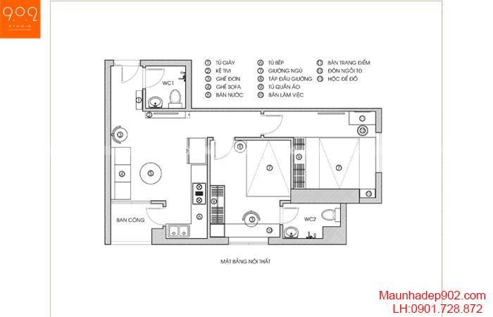 Thiết kế nội thất chung cư nhà chị Thương - Mặt bằng - NT26