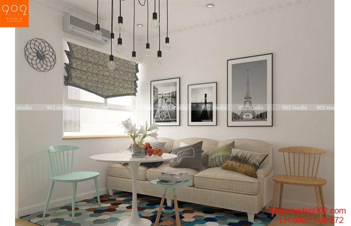 Thiết kế nội thất chung cư nhà chị Thương - Phòng khách - NT26