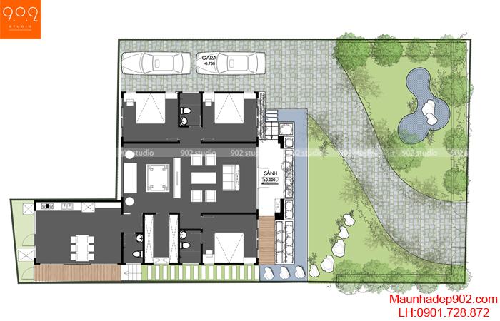 Nhà sân vườn - Mặt bằng - BT116