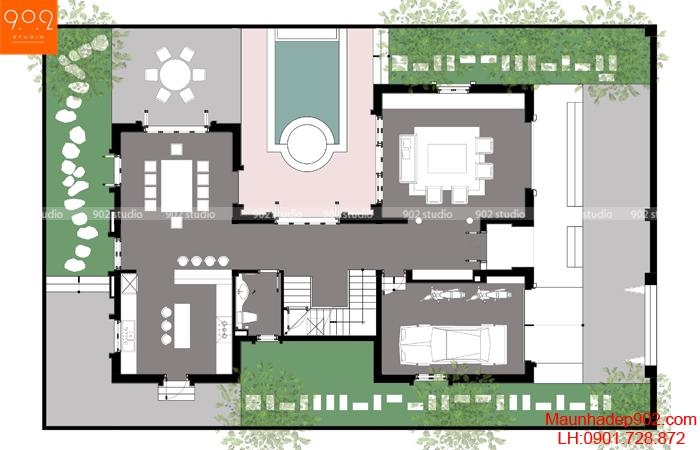 Biệt thự 3 tầng mái thái hình ảnh - MB1 - BT121