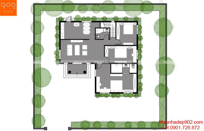 Biệt thự 2 tầng đẹp mặt bằng tầng1 BT 125