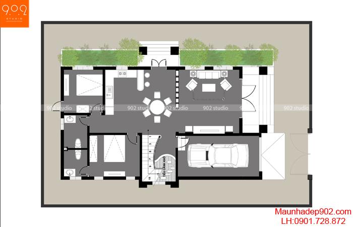 Biệt thự 2 tầng mái thái đẹp - MB1