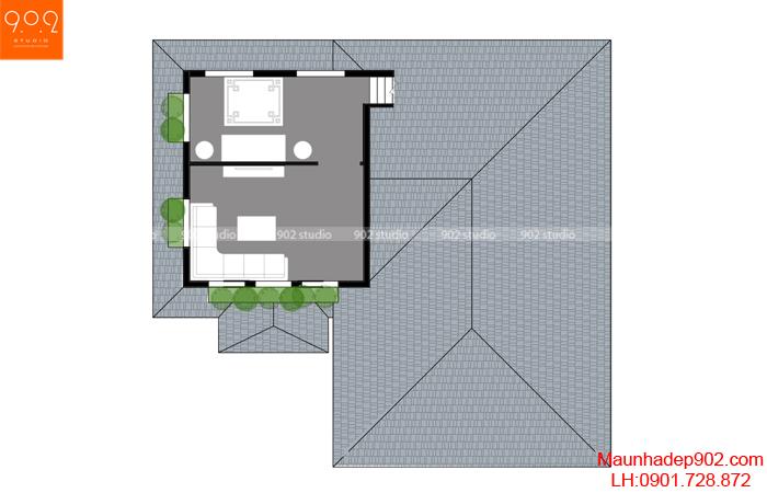Biệt thự 2 tầng đẹp mặt bằng tầng 2 BT 125