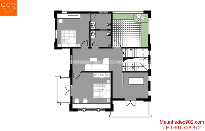 Chi tiết mặt bằng tầng 2