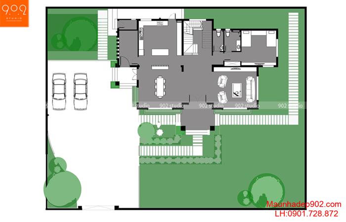 Biệt thự 3 tầng hiện đại -MB1 (nguồn: maunhadep902.com)