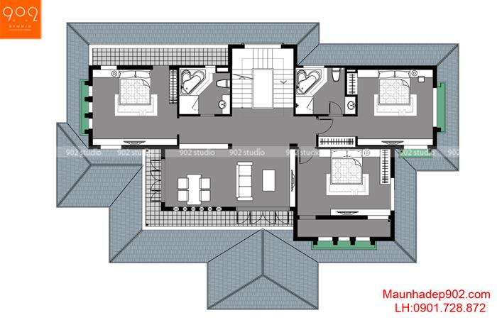 Biệt thự 3 tầng hiện đại -MB2 (nguồn: maunhadep902.com)