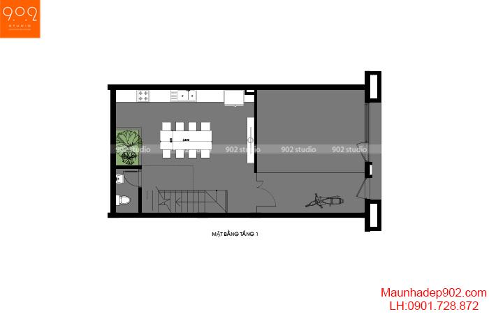 Thiết kế nội thất shophouse mặt bằng tầng 1 –NT32