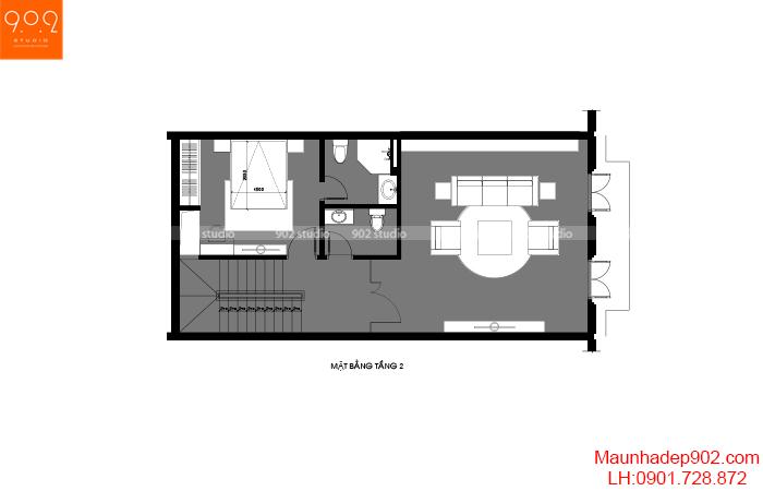 Thiết kế nội thất shophouse mặt bằng tầng 2 –NT32