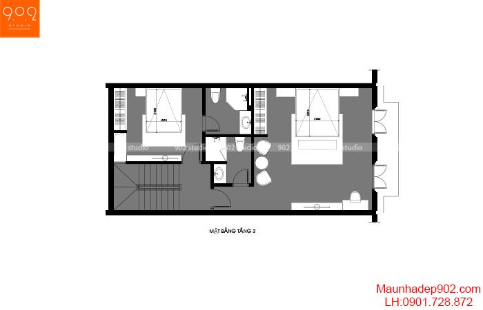 Thiết kế nội thất shophouse mặt bằng tầng 3 –NT32 (nguồn: maunhadep902.com)