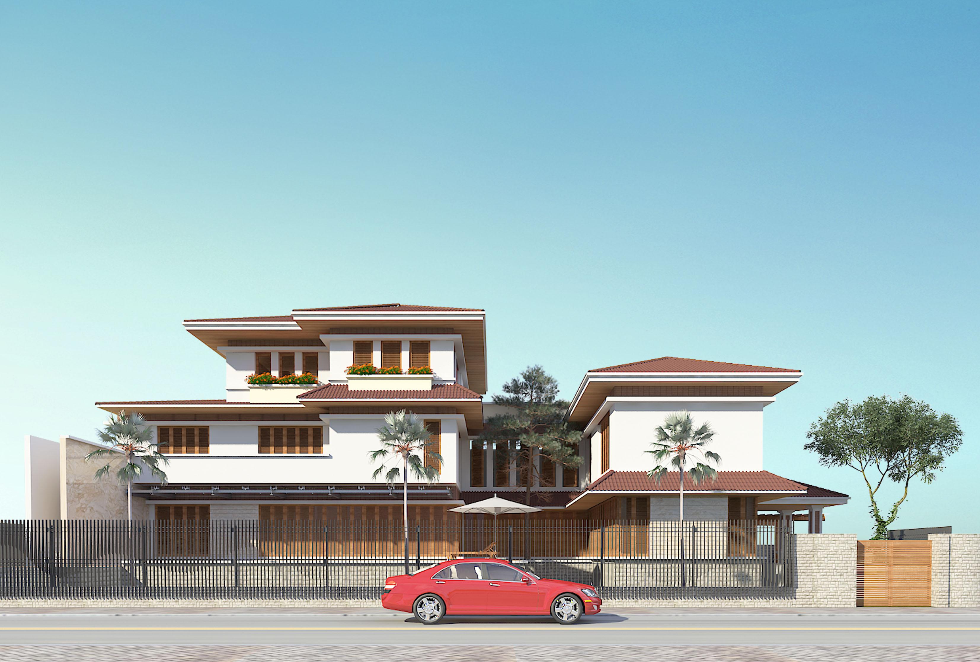 Biệt thự 3 tầng mái thái đẹp hình ảnh - phối cảnh 2 - BT121 (nguồn : maunhadep902)