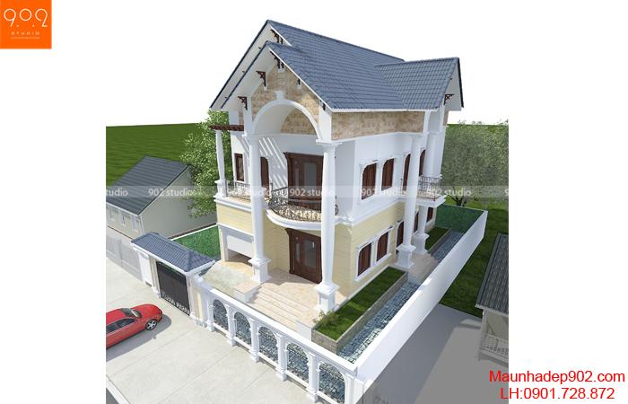 Biệt thự 2 tầng mái thái đẹp - phối cảnh 2