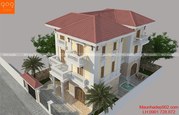 Biệt thự 3 tầng mái thái đẹp hình ảnh - phối cảnh 3 - BT121 (nguồn : maunhadep902)