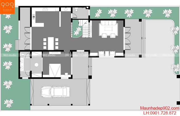 Biệt thự 2 tầng mái thái đẹp tầng 1 mặt bằng BT-122