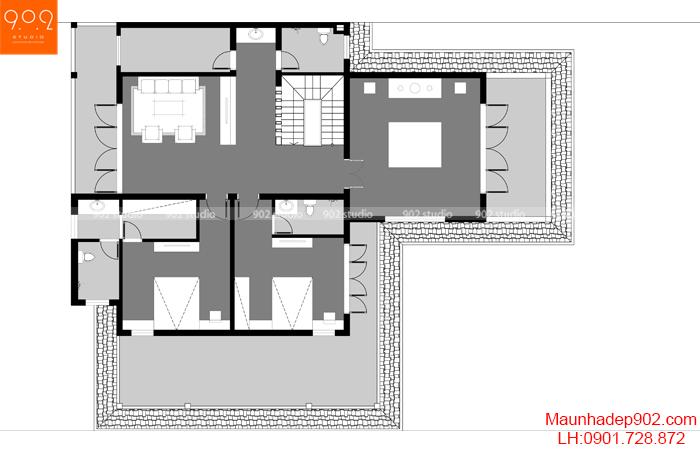 Biệt thự 2 tầng mái thái đẹp tầng 2 mặt bằng BT-122