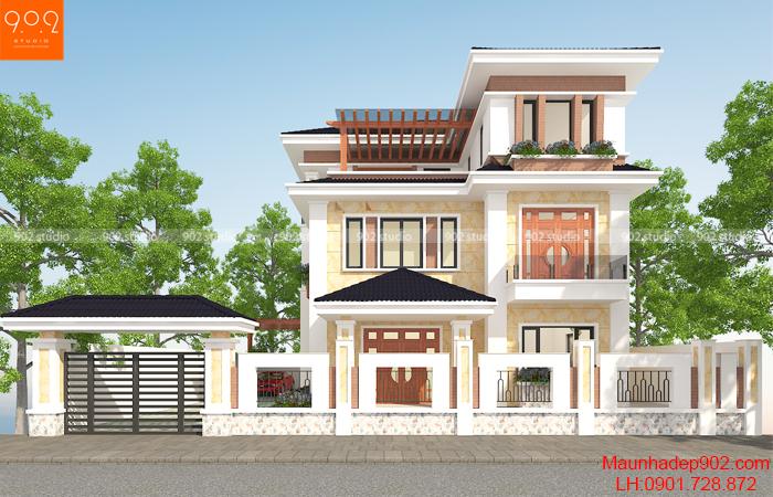 Mẫu biệt thự 3 tầng đẹp (nguồn: maunhadep902.com)