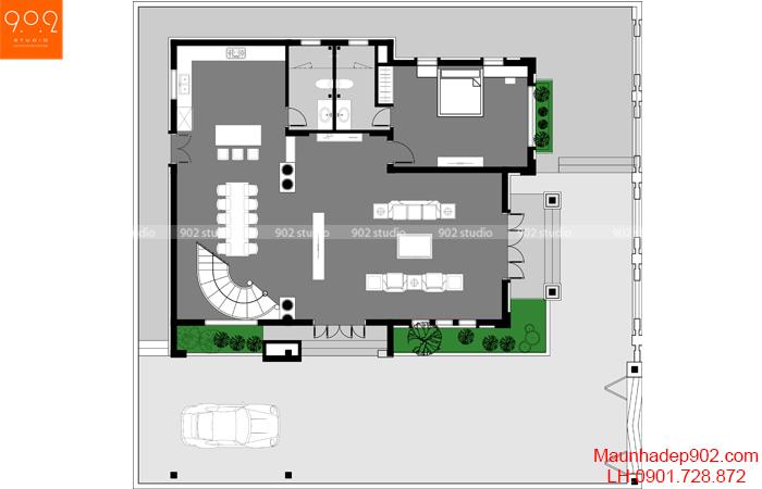 Biệt thự 3 tầng đẹp - BT131 MB1 (nguồn: maunhadep902.com)
