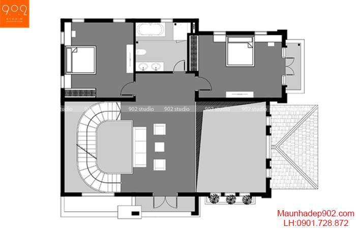 Biệt thự 3 tầng đẹp - BT131 MB2 (nguồn: maunhadep902.com)