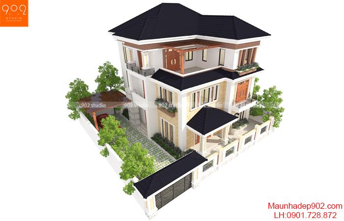 Biệt thự 3 tầng đẹp - BT131 từ trên cao (nguồn: maunhadep902.com)