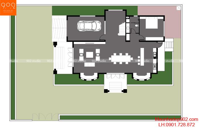 Biệt thự 2 tầng mái thái mặt bằng 1 - BT130 (nguồn: maunhadep902.com)