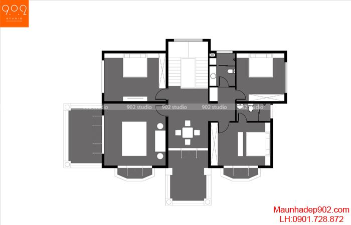 Biệt thự 2 tầng mái thái mặt bằng 2 - BT130 (nguồn: maunhadep902.com)