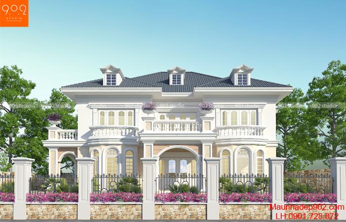 Biệt thự 2 tầng mái thái mặt trước - BT130 (nguồn: maunhadep902.com)