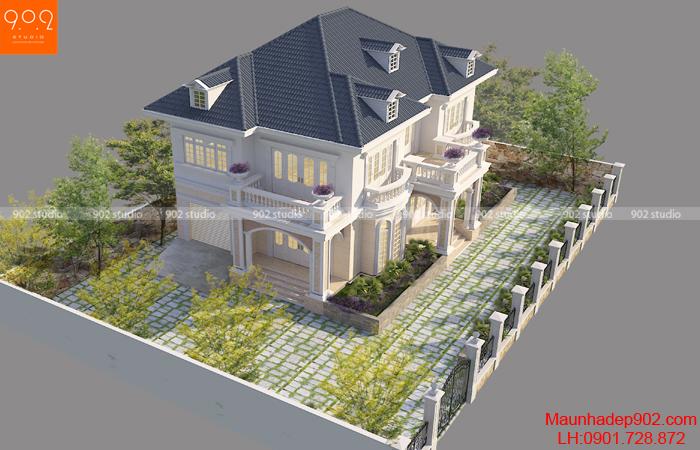 Biệt thự 2 tầng mái thái toàn cảnh - BT130 (nguồn: maunhadep902.com)