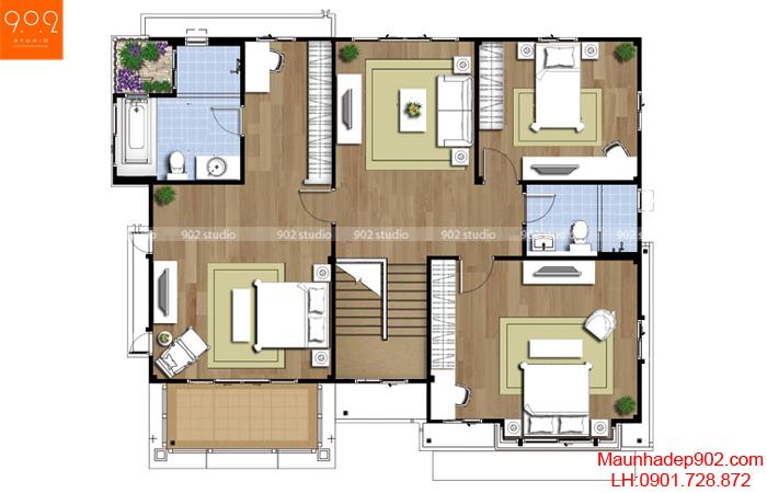 Biệt thự 2 tầng 3 phòng ngủ mặt cắt trong nhà (nguồn: maunhadep902.com)