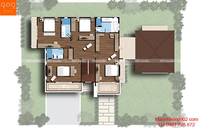 Biệt thự 2 tầng 4 phòng ngủ mặt cắt (nguồn: maunhadep902.com)