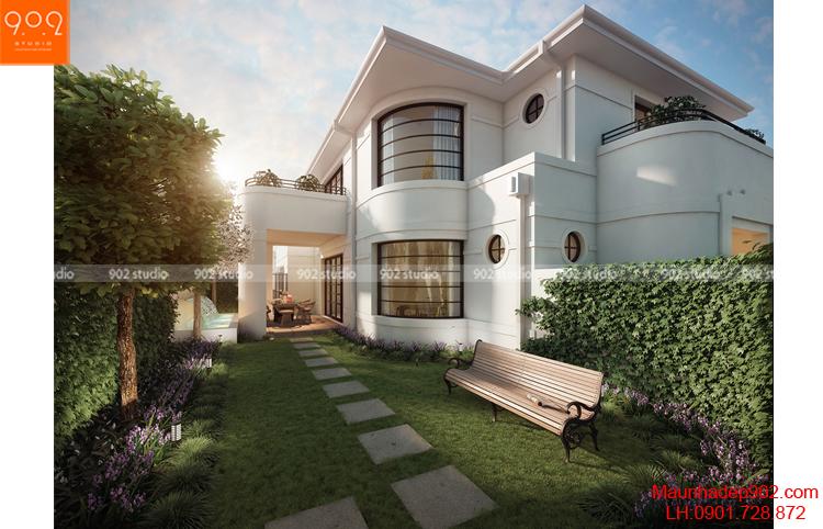 Biệt thự 2 tầng đẹp chữ L mặt bên (nguồn: maunhadep902.com)