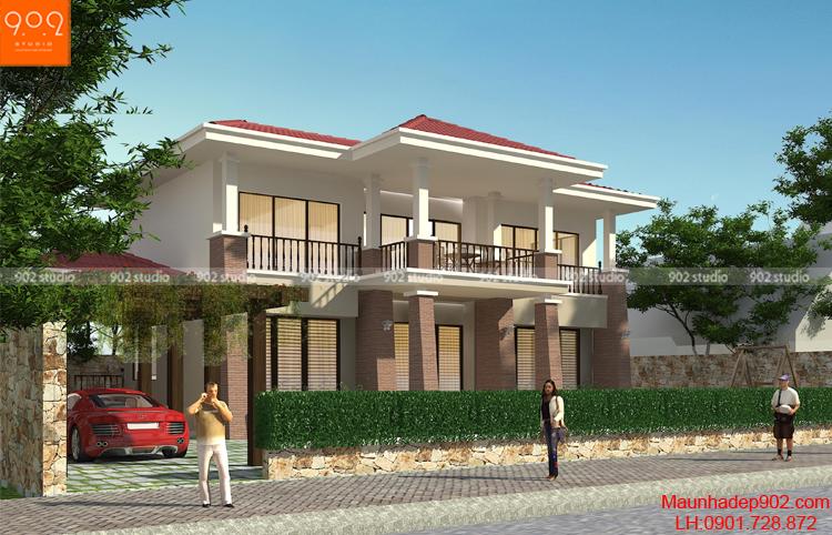 Biệt thự 2 tầng đẹp chữ L (nguồn: maunhadep.com)