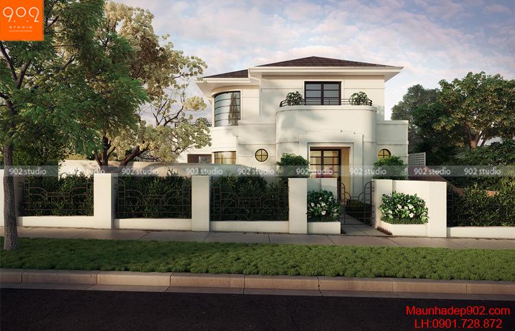 Biệt thự 2 tầng đẹp chữ L mặt trước (nguồn: maunhadep902.com)