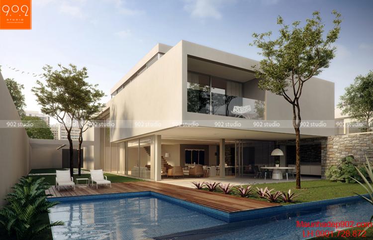 Biệt thự 2 tầng có hồ bơi đẹp mặt trước (nguồn: maunhadep902.com)