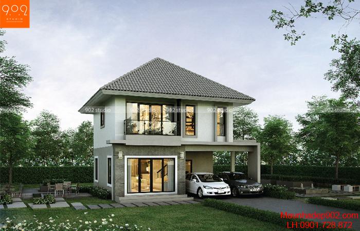 Thiết kế biệt thự 2 tầng nhỏ xinh (nguồn: maunhadep902.com)