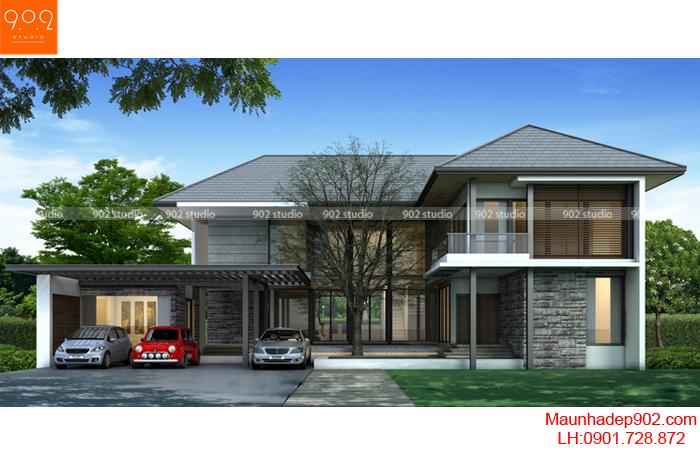 Biệt thự 2 tầng mặt trước (nguồn: maunhadep902.com)