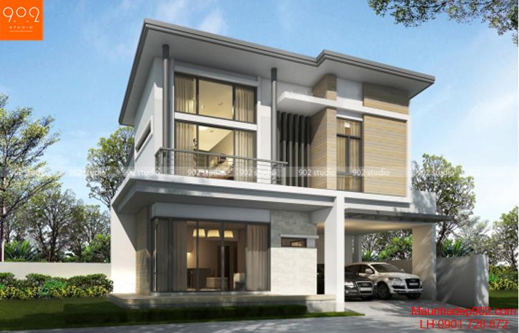 Thiết kế kiểu mái bằng biệt thự 2 tầng (nguồn: maunhadep902.com)