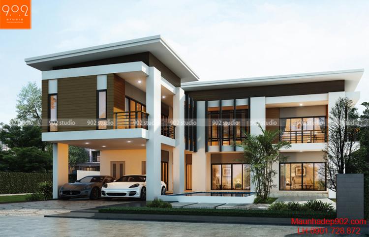 Biệt thự 2 tầng hiện đại mái bằng (nguồn: maunhadep902.com)