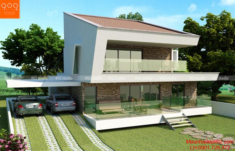 Biệt thự 2 tầng mái dốc đẹp (nguồn: maunhadep902.com)
