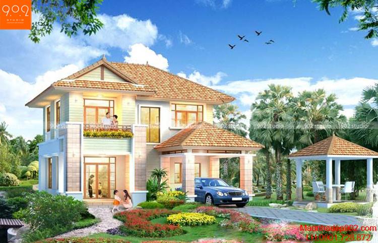 Biệt thự 2 tầng đẹp mái ngói đẹp hiện đại (nguồn: maunhadep902.com)