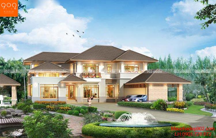 Biệt thự 2 tầng sân vườn thoáng mát (nguồn: maunhadep902.com)