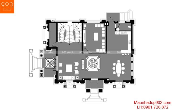 Mẫu biệt thự 2 tầng 1 tum tân cổ điển kiêu sa - MB1 (nguồn: maunhadep902.com)