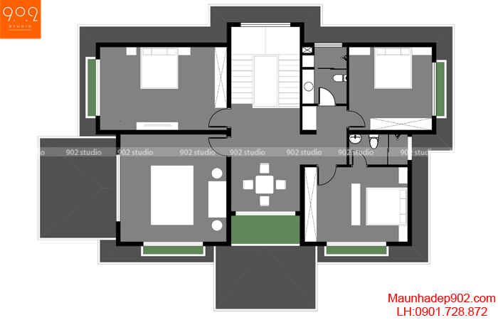 Mẫu biệt thự 2 tầng hiện đại tao nhã - BT133 MB2 (nguồn: maunhadep902.com)