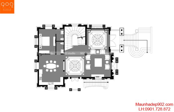 Biệt thự đẹp 4 tầng tân cổ điển - MB2 BT135 (nguồn: maunhadep902.com)