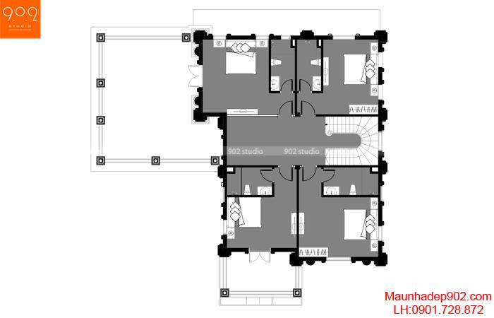 Biệt thự đẹp 3 tầng - MB2 (nguồn: maunhadep902.com)