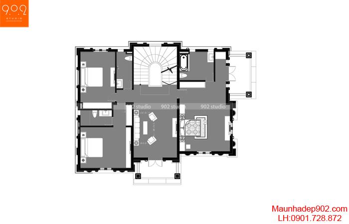 Biệt thự đẹp 4 tầng tân cổ điển - MB3 BT135 (nguồn: maunhadep902.com)