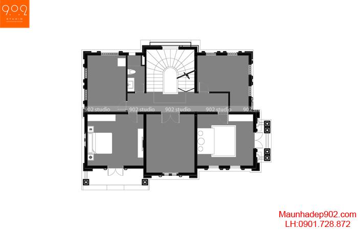 Biệt thự đẹp 4 tầng tân cổ điển - MB4 BT135 (nguồn: maunhadep902.com)