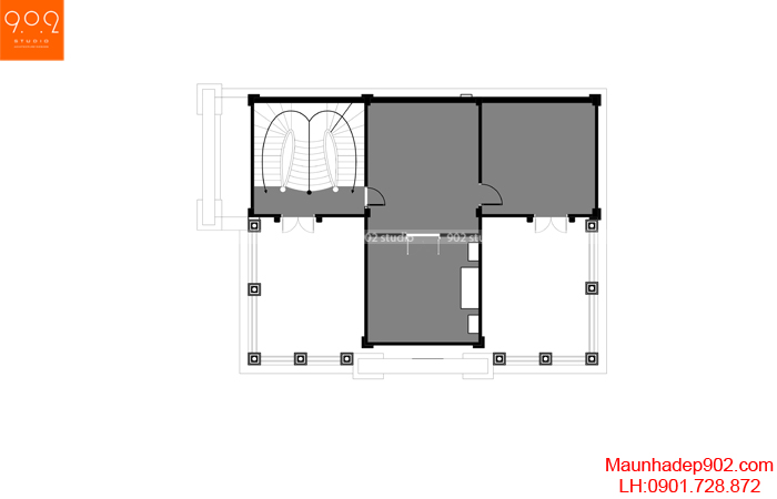 Mẫu biệt thự 2 tầng 1 tum tân cổ điển kiêu sa - MB tầng tum (nguồn: maunhadep902.com)