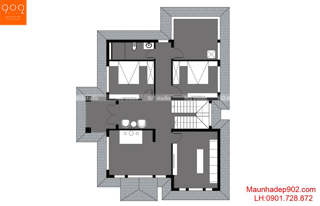 mẫu biệt thự 2 tầng đẹp hiện đại - MB2 (nguồn: maunhadep902.com)