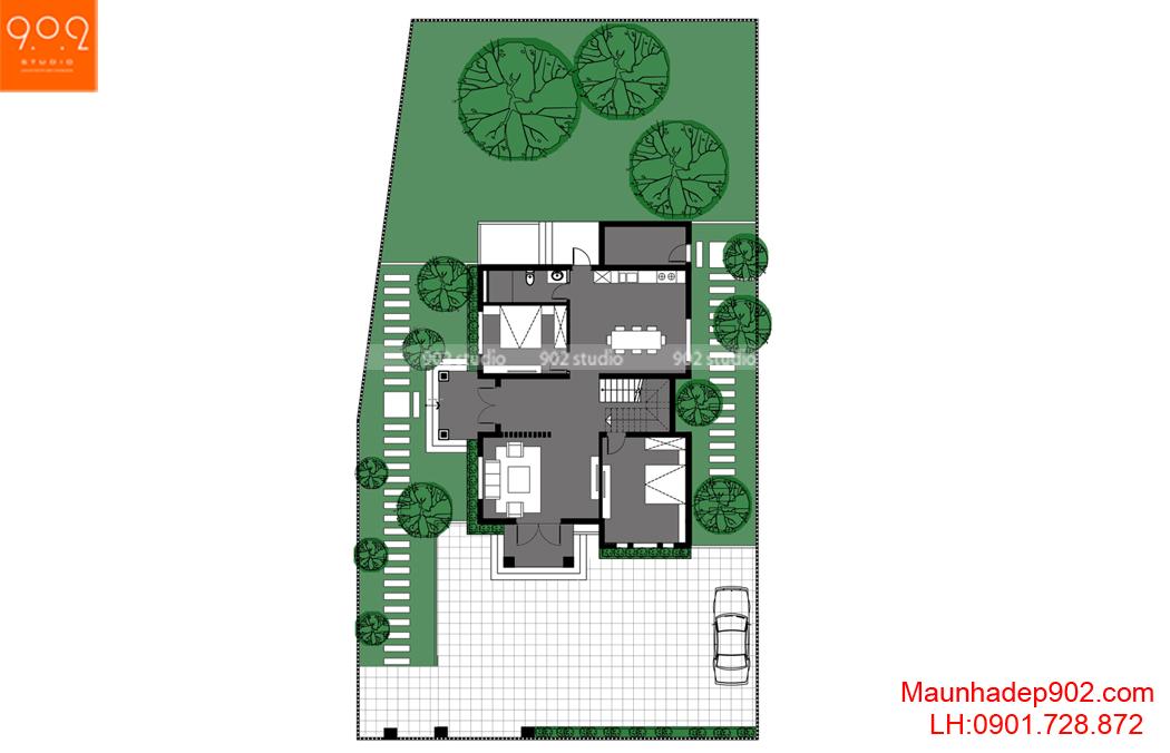 mẫu biệt thự 2 tầng đẹp hiện đại - MB1 (nguồn: maunhadep902.com)